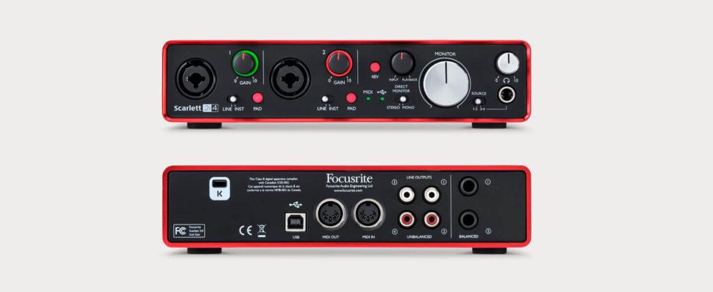 Focusriteのスカーレット2i4オーディオインターフェイス、ホームスタジオに最適