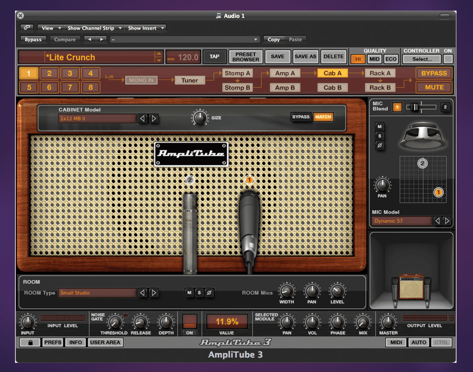 IK Multimedia Amplitube uno de los más populares simuladores de amplificadores de guitarra gratuitos.Imagen del Control Room del Amplitube