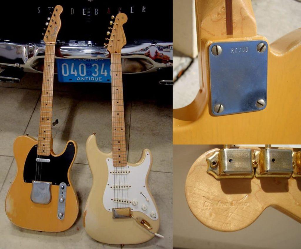 Fotografias dos protótipos exibidos na NAMM 1995:  Fender Nocaster 51 e Stratocaster 54 com gravação na placa do pescoço e carimbo no cabeçote