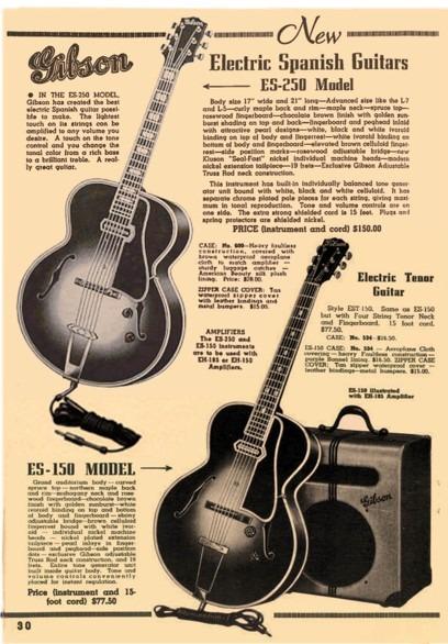Folleto publicitario de la Gibson ES-150 y la ES-250