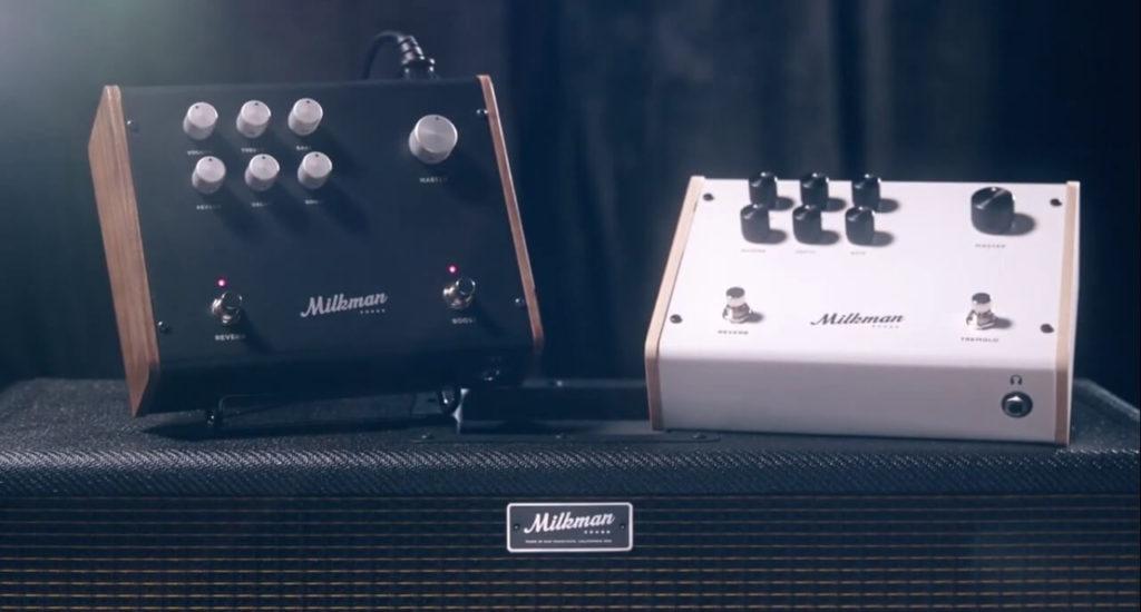 Fotografía de la nueva versión del Milkman Sound The Amp 100 (a la izquiera) y la vieja versión de The Amp (a la derecha.