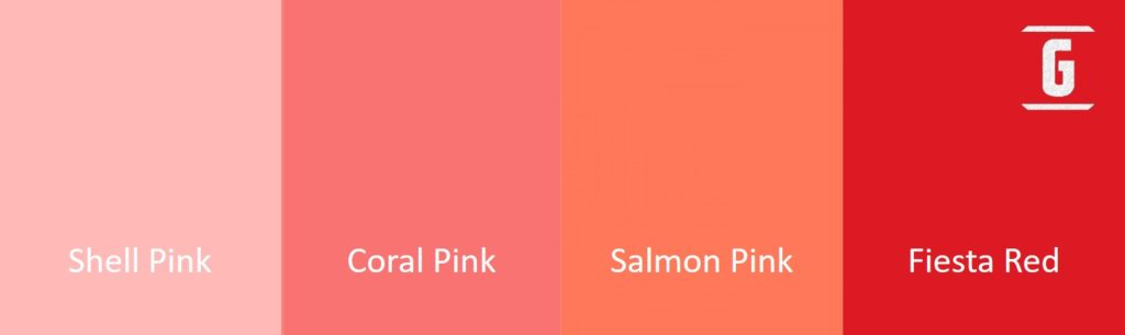 Paleta de Colores: Shell Pink, Coral Pink -también llamado Tahitian Coral-, Salmon Pink y Fiesta Red