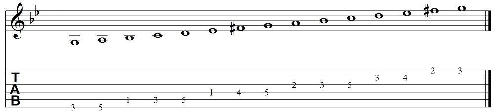 Harmonische g-Moll-Progression.