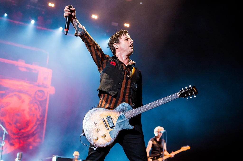 Billie Joe Armstrong con una Gibson Les Paul Junior, guitarra con una única pastilla