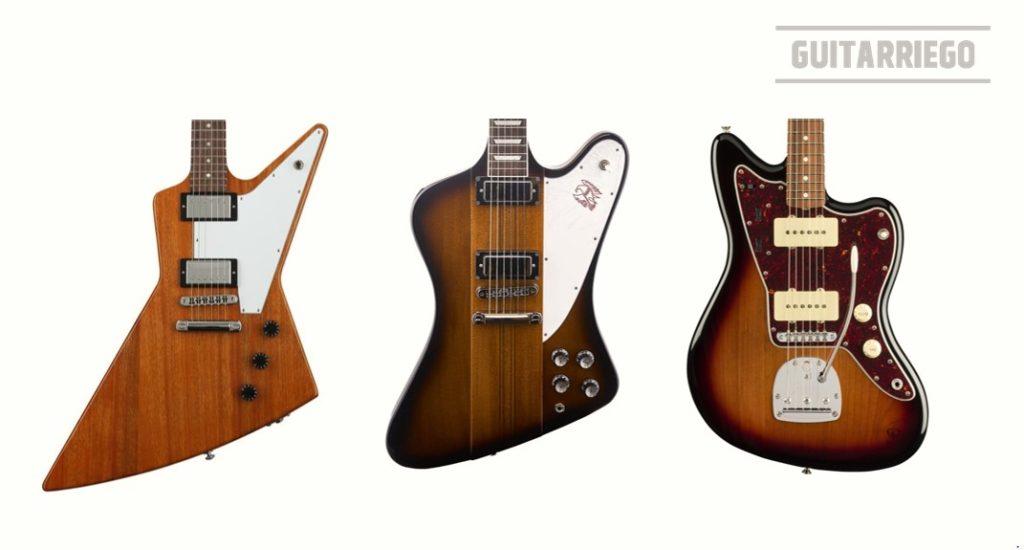 La Gibson Firebird comparadas con la Gibson Explorer y Fender Jazzmaster.