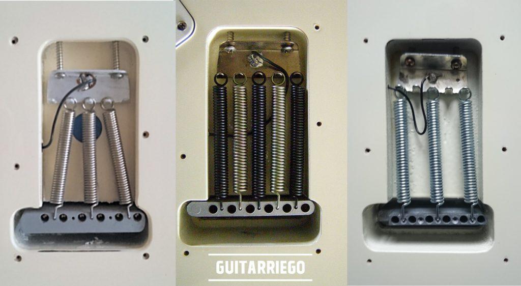 Fender Stratocaster Tremolo Brückenblocktypen - dick und dünn -.