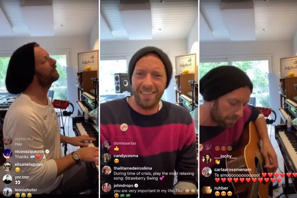 Chris Martin, cantante y líder de Coldplay dando un recital en Instagram en medio de la pandemia de Covid-19 que afecta a la industria del Rock.