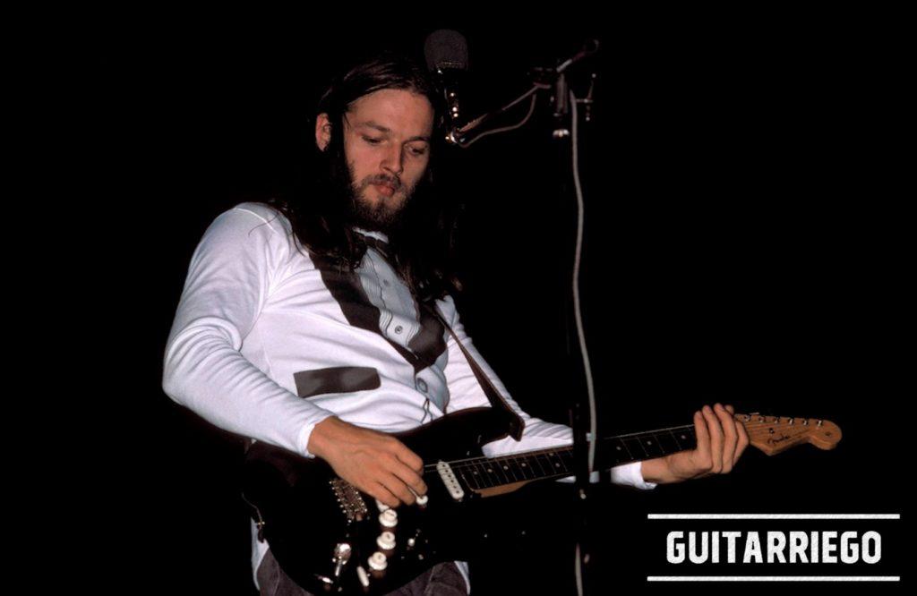 David suona la Stratocaster nera con il battipenna nero.