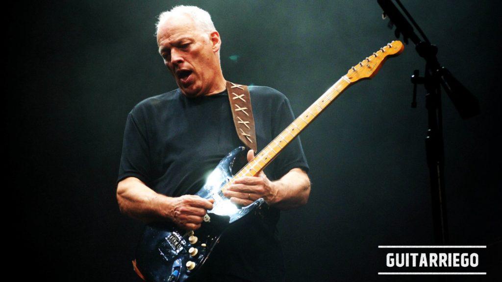 David Gilmour in concerto con la chitarra Fender Black Strat.