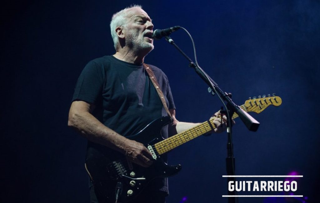 Gilmour in concerto con la chitarra Fender Strato nera.