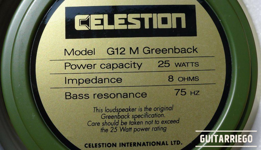 Etiqueta de Celestion Greenback G12M