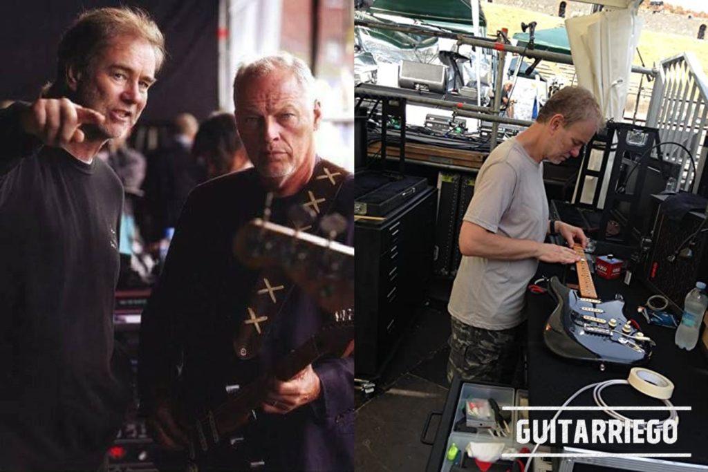 Phil Taylor mit David Gilmour und der Black Strat und arbeitet an der Black Strat.