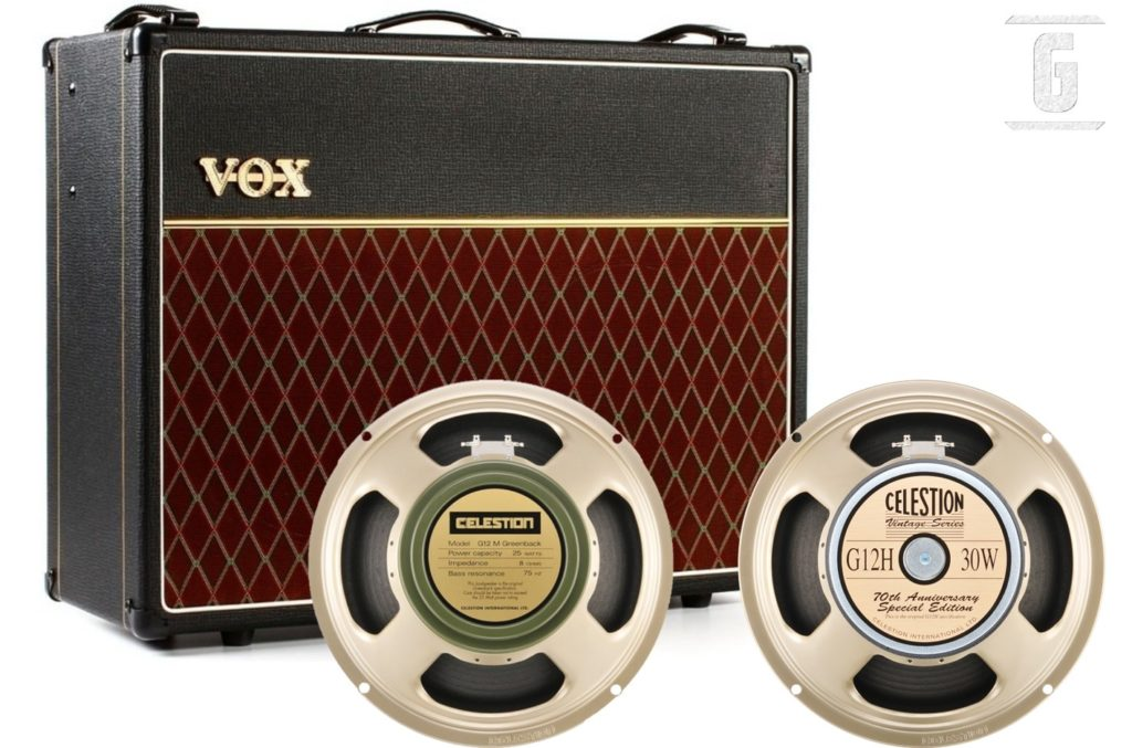 Elegir un altavoz o parlante de guitarra: Amplificador Vox AC30, Celestion Greenback G12M y G12H30