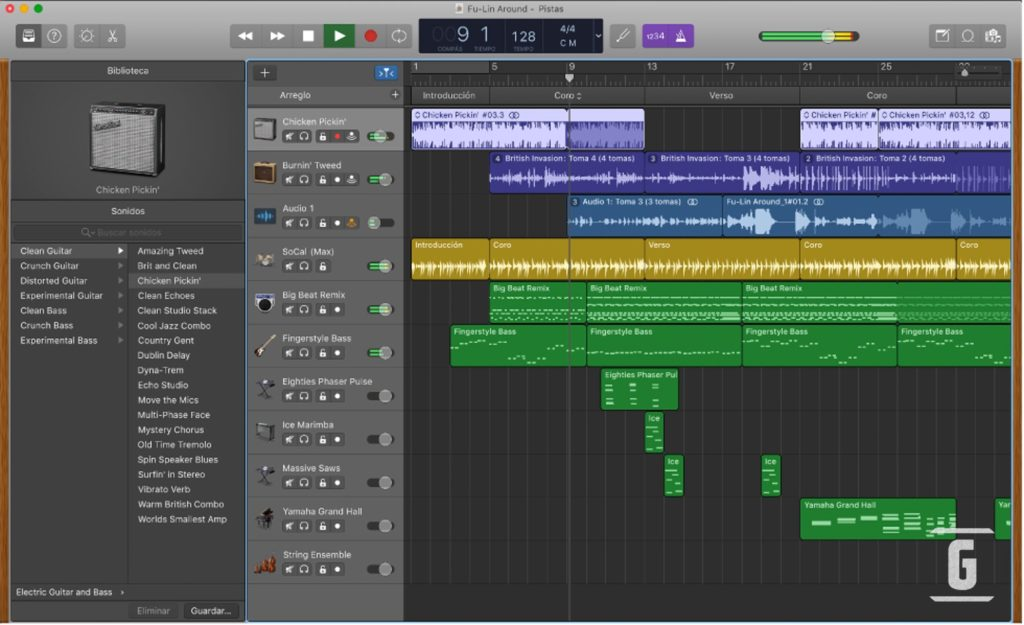 GarageBand of Apple / Mac, an excellent option to dabble with programs to record, edit and mix audio and music or guitars.
