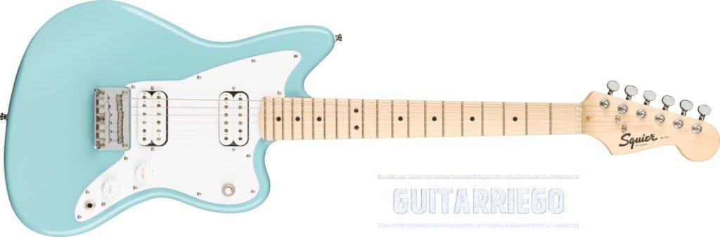 Squier Mini Jazzmaster HH en Daphne Blue, guitarra ideal para niños.