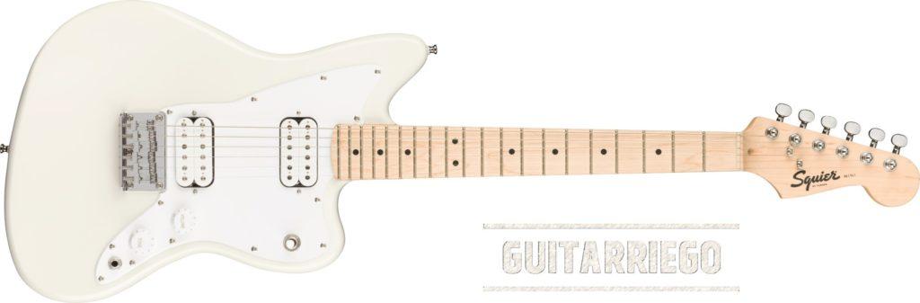 Squier Mini Jazzmaster HH en Olympic White, guitarra ideal para principiantes.