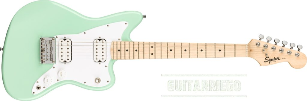 Squier Mini Jazzmaster HH en Surf Green, guitarra ideal para estudio.