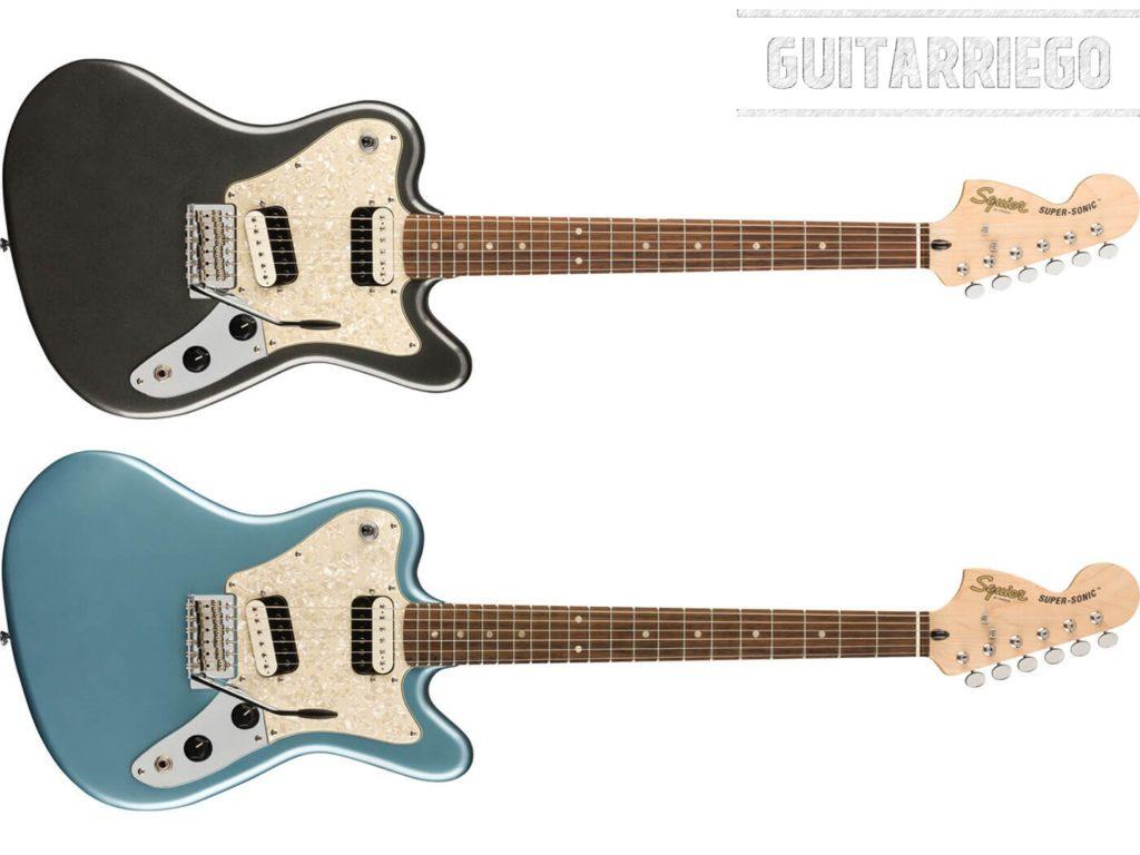 Squier Paranormal Super-Sonic, una máquina de Rockear, basada en la Fender Jazzmaster con diseño invertido.