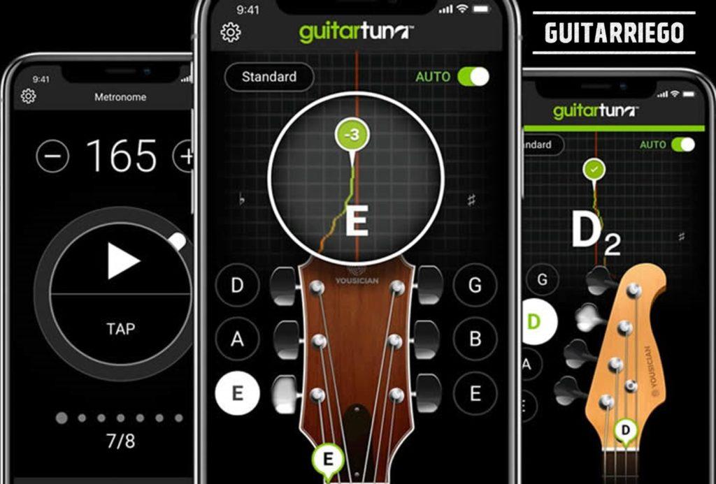 GuitarTuna aplicación para móviles y smartphones con afinador y metrónomo, escenciales para el guitarrista principiante.
