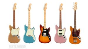 Fender Duo-Sonic HS, Mustang 90, Bass PJ Player Series guitarras y bajo.