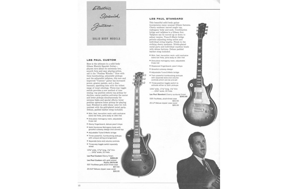 Gibson Les Paul Custom brochure featuring the photograph of Les.
