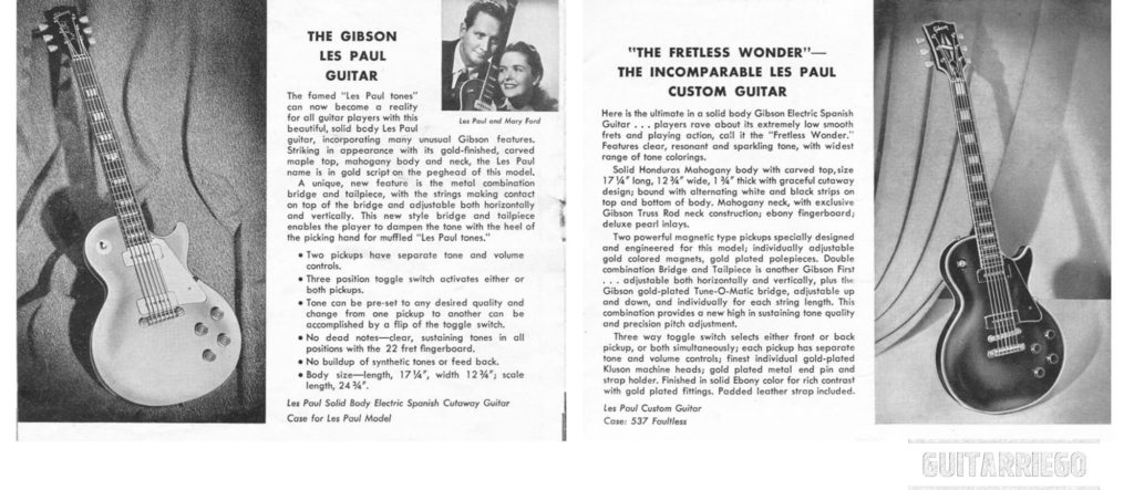 "1953/4 Gibson Les Paul Goldtop und LEs Paul Custom ""Black Beauty"" Broschüren mit Les Paul und Mary Ford."