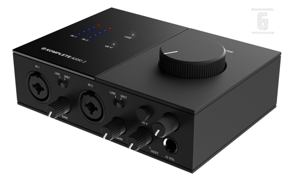 Native Instruments Komplete Audio 2, eines der beliebtesten Audio-Interfaces für E-Gitarren.