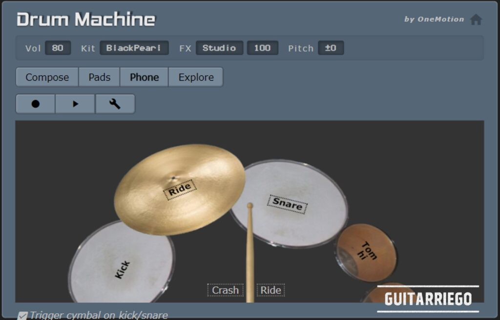 OneMotion Drum Machine: modalità telefono della drum machine virtuale totalmente gratuita.