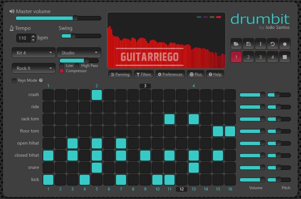 Drumbit: cuenta con su versión gratuita de su caja de ritmos virtual.