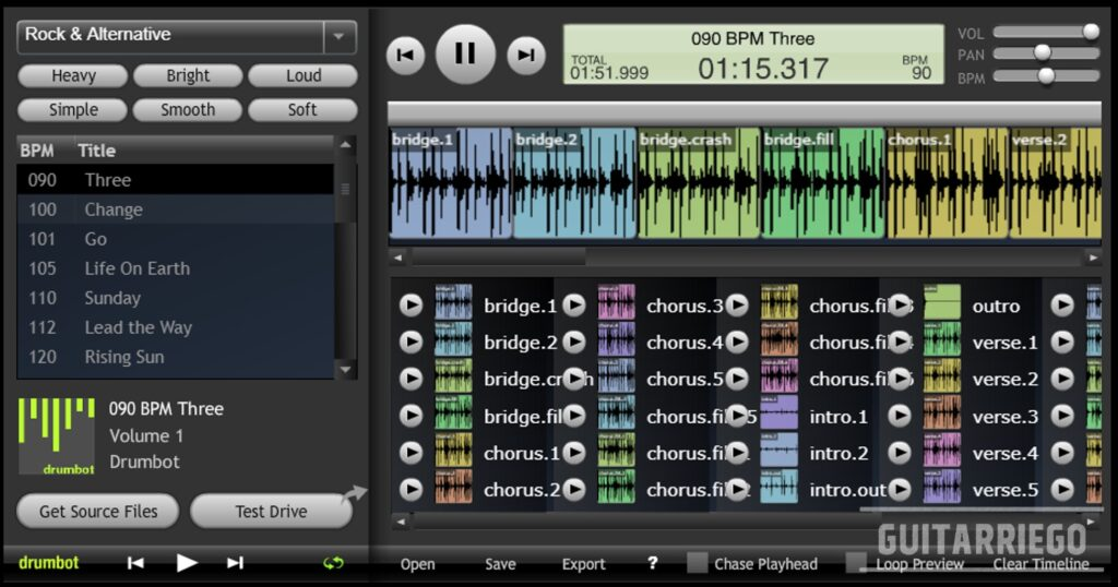 Drumbot: an online drum machine ideal for creating loops or fast tracks.
