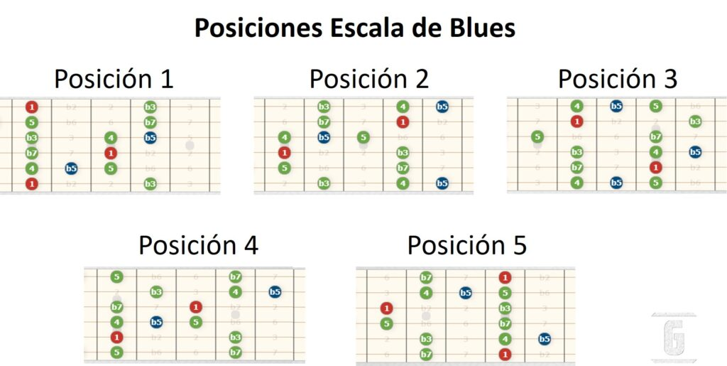 Positions of the Blues Scale, Pentatonic and the Blue Note.