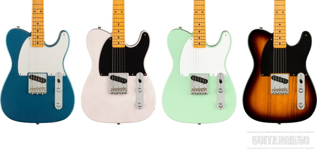 Fender Esquire Aniversario 70 acabados: White Blonde, Lake Placid Blue, Sunburst de 2 colores -two tone- y Surf Green.