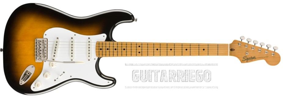 Squier Stratocaster Classic Vibe 50 fabricada en China, la versión barata de la Fender.