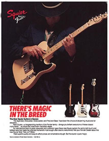 Publicidad de guitarras Squier 1983-1984.