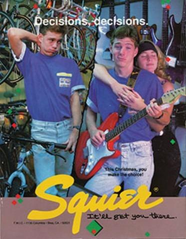 Publicidad de guitarras Squier 1985.