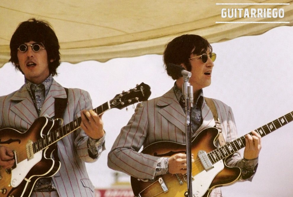George Harrison and John Lennon of the Beatles playing with two Epiphone Casinos.