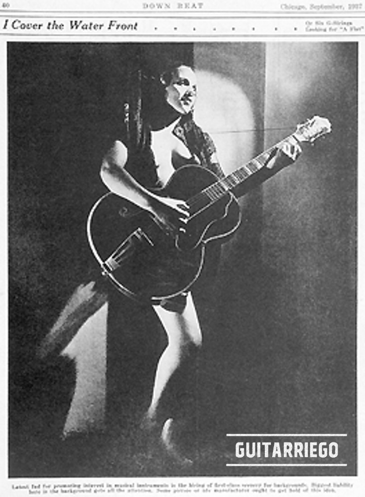 History of Epiphone: Advertising for  Emperor the biggest guitar released so far by the brand.