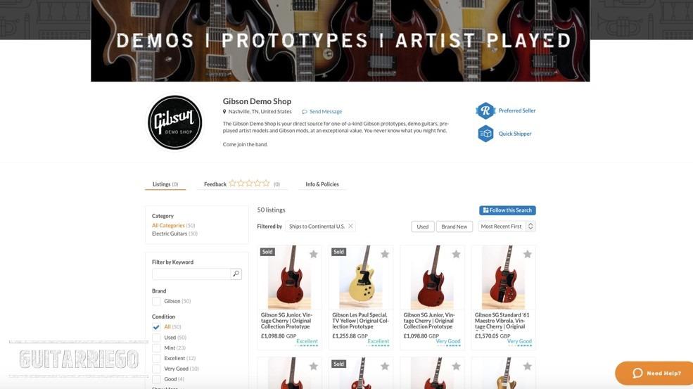 Gibson Demo Shop sur Reverb.com prototypes de guitares et plus encore.