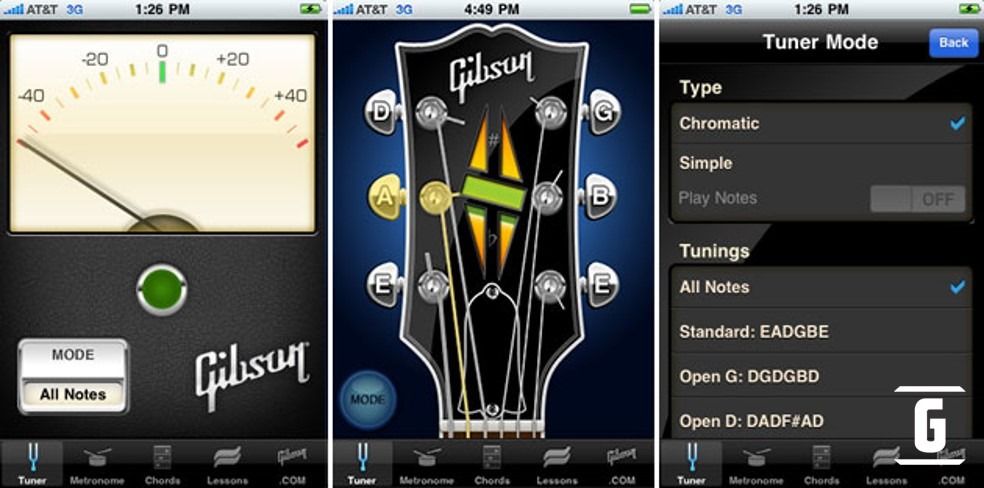 Gibson App es una herramienta virtual multifacética: Lecciones de guitarra, Afinador incorporado, Gibson TV, Gibson Shop y Servicio Técnico Virtual.