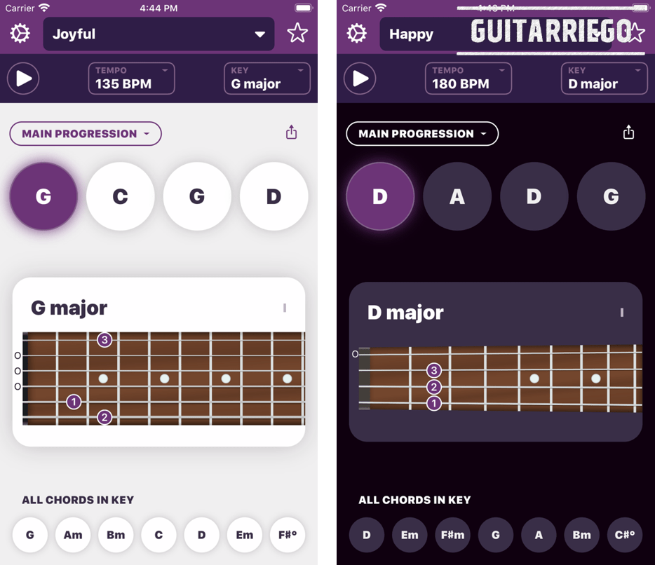 Autochords is an ideal app for musicians, both guitarists and pianists, to compose chord progressions for their songs.