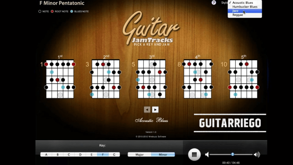 Guitar Jam Tracks, the best application to jam and improvise with your guitar.