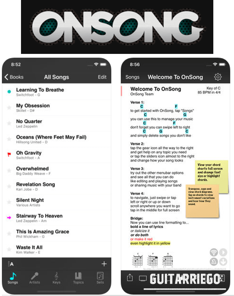 OnSong, guitar chords and lyrics application on your iOS device, be it iPad or iPhone.