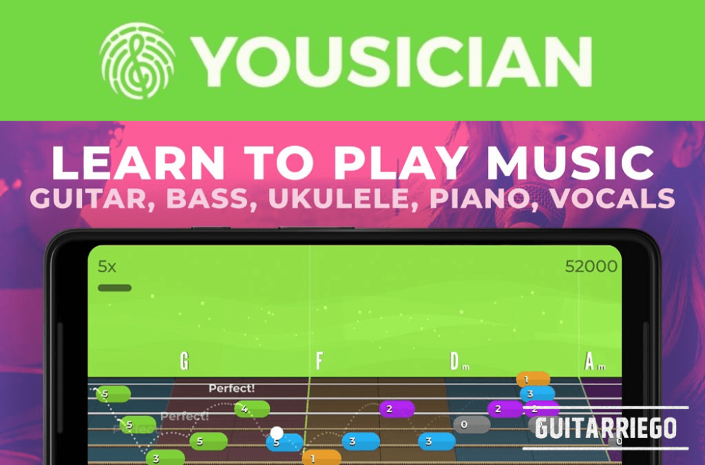 Similar to the classic Guitar Hero console game, Yousician is an app with a fast and fun way to learn to play the guitar.