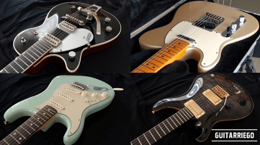 Guitarras para canhotos: Gretsch G5230T, Fender Telecaster e Stratocaster e PRS Custom Left Handed Limited Edition.
