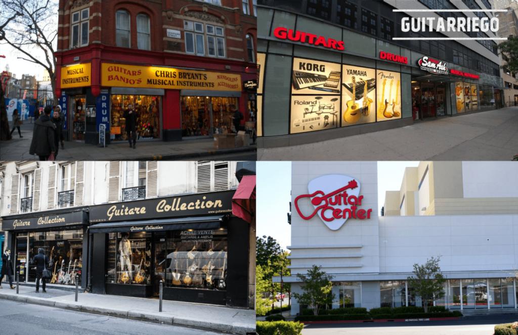 Fotos de lojas de instrumentos musicais: Instrumentos musicais de Chris Bryant na Dinamarca Streed, Londres.  Sam Ash e Guitar Center nos Estados Unidos.  Coleção Guitare na Rue de Douai em Montmartre.