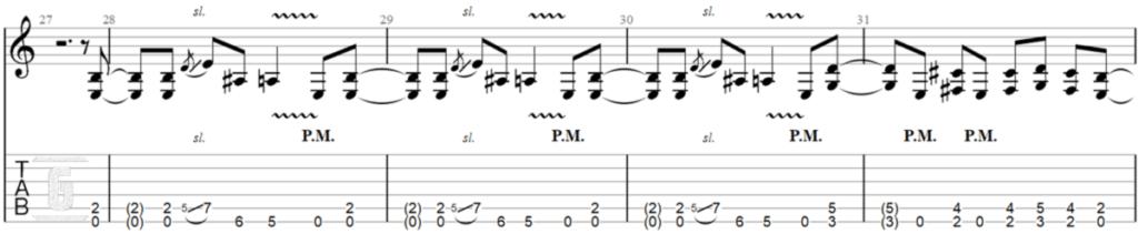 기타 초보자를 위한 Metallica의 유명한 Enter Sandman 베이스 리프의 Tablature.