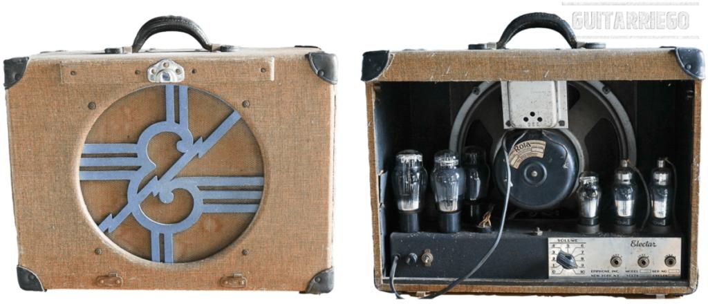Vintage Epiphone Electar vorne und hinten, dies ist einer der allerersten Röhrenverstärker, die Epiphone herausgebracht hat.