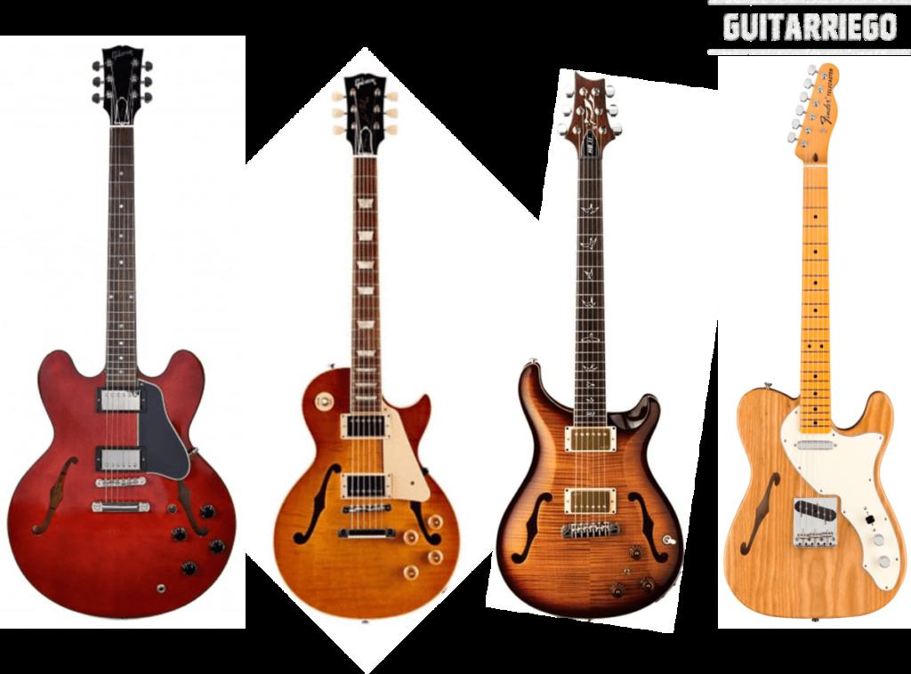 Guitares Hollowbody de toutes sortes : Gibson ES-335, Gibson Les Paul, Paul Reed Smith Custom 24 et Fender Telecaster.