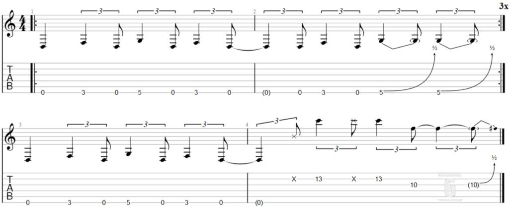 Psycho by Muse, 기타로 연주하기 쉬운 리프.