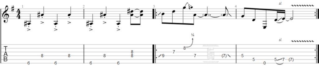 초보자를 위한 Jimi Hendrix의 Purple Haze의 쉬운 도입부 리프를 위한 Tablature.
